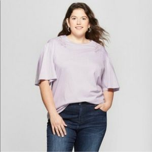 New With Tags Lilac Loose Lace Shoulder Top